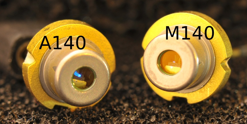 Picture of the A140 and M140 laser diode